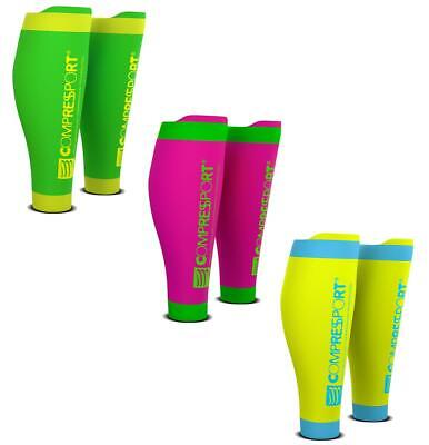 Compressport Calf R2V2 Fluo Kompression Waden Sleeves Triathlon Swim Bike Run