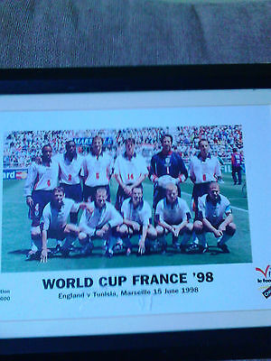 World Cup France 98, England v Tunisia ,Marseille15/6/98 Ltd Edition photograph