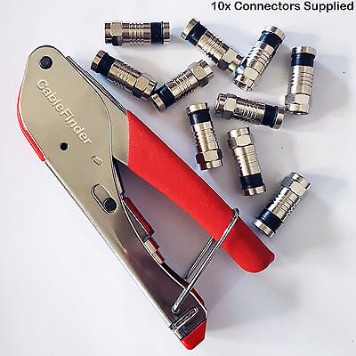 F-Type Compression Tool & 10x RG59 Connectors-Coaxial Crimping Crimper Sky Screw
