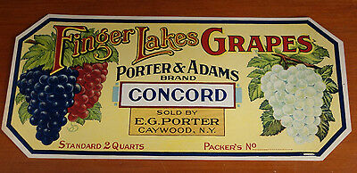 Antique Grapes Crate Label Finger Lakes Porter & Adams Concord Caywood NY