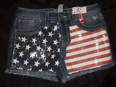 NWT JUSTICE red white blue stars stripes 4th of July denim shorts ~ girls 12 1/2