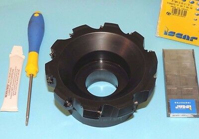 "ISCAR 5"" Indexable Heavy Duty 90° Face Mill w/ Inserts 3M F90AX D5.00-10-1.50-13"