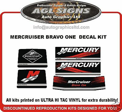 Mercruiser Bravo One  Outdrive Decal Kit  reproductions mercury 1