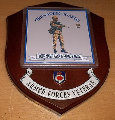 Grenadier Guards Veteran Wall Plaque with name rank& number