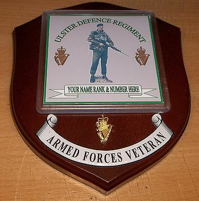 Ulster Defence Regiment Veteran Wall Plaque with name rank& number