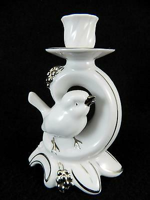 Vintage Dresden White & Silver Porcelain Bird Candlestick Candle Holder