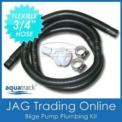 "BILGE PUMP PLUMBING KIT 3/4"" -Boat Live Bank Tank/Water Skin Fitting/Hose/Clamps"
