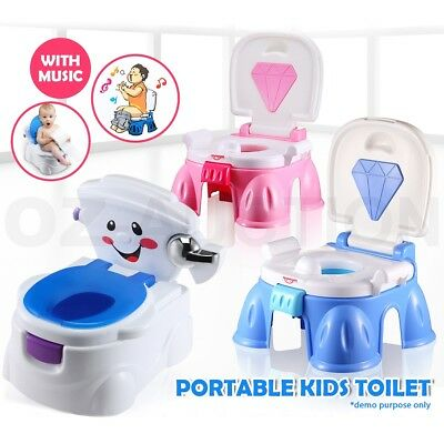 Portable Children Baby Kids Toddler Potty Training Toilet Chair Trainer Fun Seat