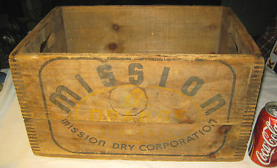 Antique Country Mission Orange Soda Bottle Wood Crate Box Art Sign Holder Stand