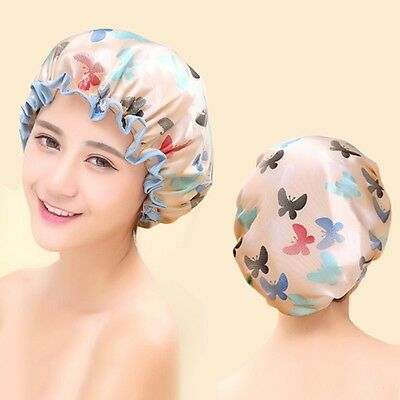 Lady's Waterproof Durable Shower Cap Bathing Hair Hat Stylish Butterfly Printing