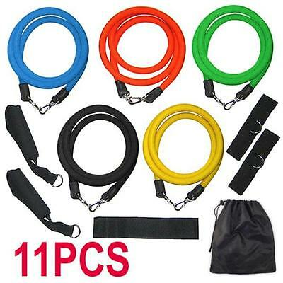 Resistance Bands Workout Exercise Yoga 11 Piece Set Crossfit Fitness Tubes UK