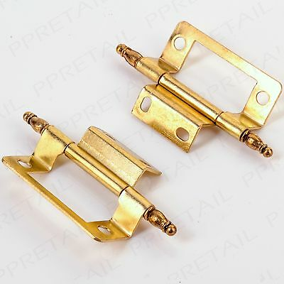"CHOOSE QTY Brass Finial Double Cranked Hinge 50mm/2"" Flush Cupboard/Cabinet Door"
