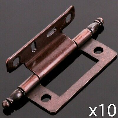10x CRANKED ANTIQUE BRASS 50mm FINIAL HINGE Offset Country House Kitchen Cabinet
