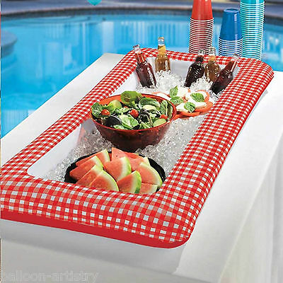 127cm Summer BBQ Garden Picnic Party Red Gingham Inflatable Buffet Drinks Cooler
