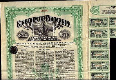 KINGDOM OF ROUMANIA 1922 4% Gold Bond w/ uncancelled dividend coup.