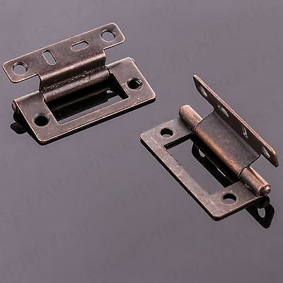 CHOOSE 1, 2, 5, 10 OR 50 PAIR 50mm Cranked Flush Antique Brass Offset Door Hinge