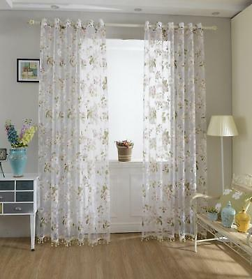 Modern Floral Pattern Tulle Sheer Curtains Window Blinds Panel Drape Valances