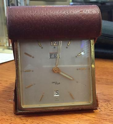 Vintage  Imhof Swiss folding travel bedside alarm clock . Working .Calendar
