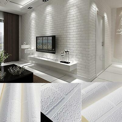 3D 10m Brick Wallpaper Roll White Textured Non-woven Flocking Home Wall Paper