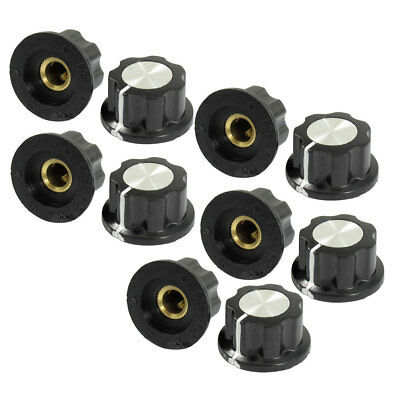 10 Pcs Black Silver Tone 19mm Top Rotary Knobs for 6mm Dia. Shaft Potentiometer