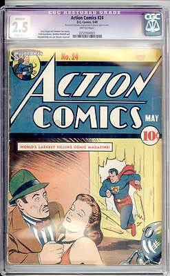 Action Comics # 24  Great Superman cover !  CGC 2.5 rare Golden Age book !