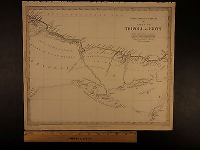 1844 BEAUTIFUL Huge Color MAP of North Africa EGYPT Alexandria Tripoli ATLAS