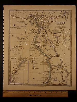 1844 BEAUTIFUL Huge Color MAP of Modern Egypt Nile Cairo Catacombs Nubia ATLAS