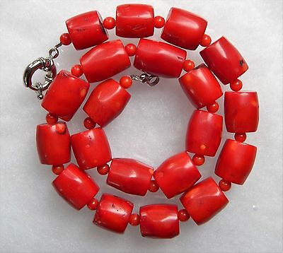 """New Vintage Estate Chunky Red Coral Barrel Bead Necklace 18""""  imperfections"""