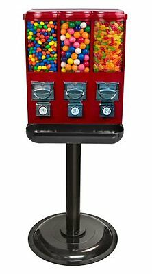 Triple Time Gumball & Candy Vending Machine - RED