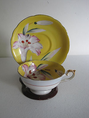 Occupied Japan China Tea Cup & Saucer Set Yellow Flowers Hand Painted