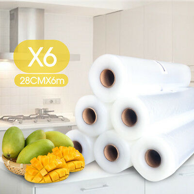 6x Vacuum Food Sealer Roll Bags Saver Seal Storage Heat Commercial 36m x 28cm