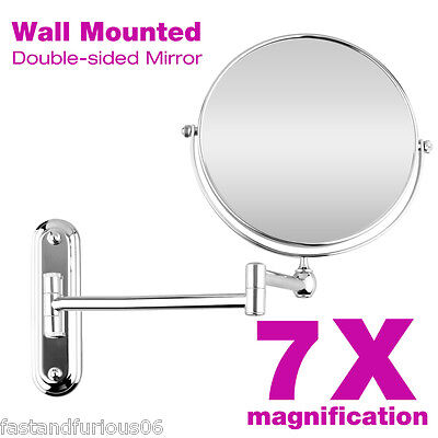 7x Ingrandimento specchio di trucco LED 8.0'' Wall Mounted Folding Double Side