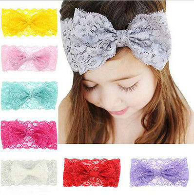 7PCS Baby Girls Kids Lace Bow Headband Hairband Stretch Head Band Accessories
