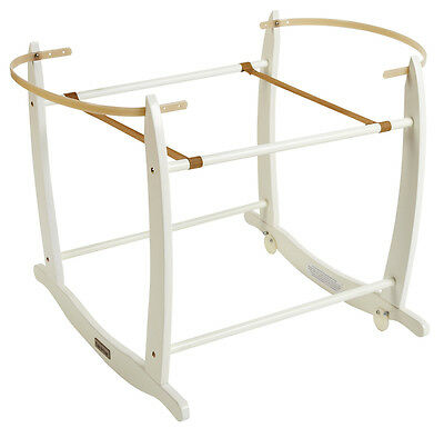 New Clair De Lune White Wooden Deluxe Rocking Stand To Fit Moses Baskets