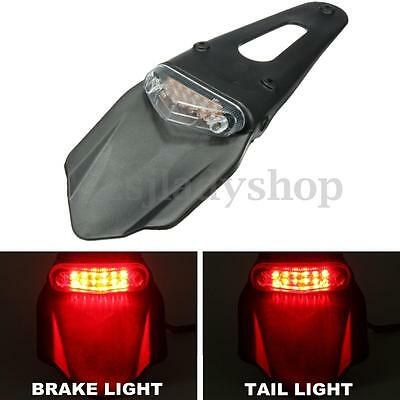 Universal Motorcycle Enduro Trial Dirt Bike Fender LED Stop Rear Tail Light Lamp