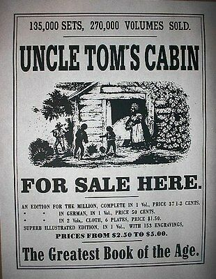 "(083) SLAVERY UNCLE TOMS CABIN BOOK PROMOTIONAL OLD WEST BROADSIDE 11""x14"""