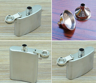 Stainless Steel Hip Liquor Whiskey Alcohol Flask Cap 1,2,3.5 Oz Funnel