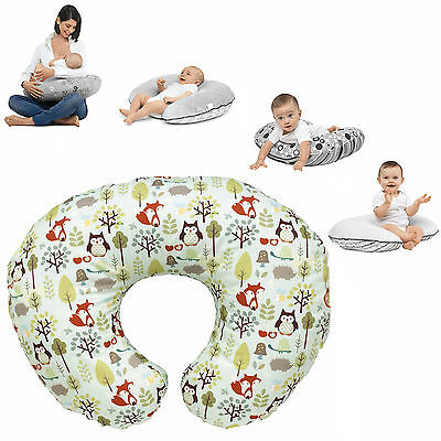 New Chicco Woodsie Boppy Nursing Feeding Pillow With Cotton Slip Cover