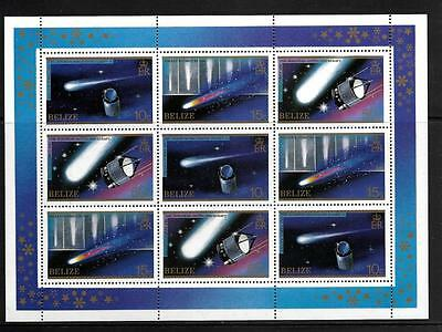 Belize, Qe11, 1986 Halleys Comet, 2 Shhetlets And Min Sheet Sg Ms 798, Mnh,(3)