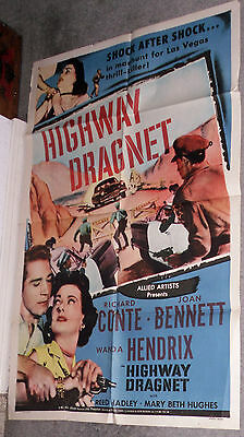 LAS VEGAS POLICE ROADBLOCK original 1954 one sheet movie poster HIGHWAY DRAGNET