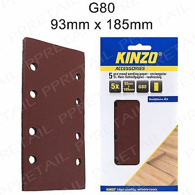 5 x Kinzo 93mm x 185mm Velcro Sanding Sheets -80 GRIT- Punched 8 Hole 1/3 Pads