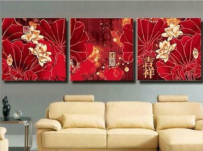 """20x20"""" DIY Home Decor Acrylic Paint By Number Kit Three Parts Lotus"""
