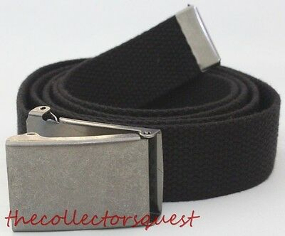 """NEW EAGLE ADJUSTABLE 50/"""" INCH OLIVE GREEN CANVAS MILITARY WEB BELT CHROME BUCKLE"""