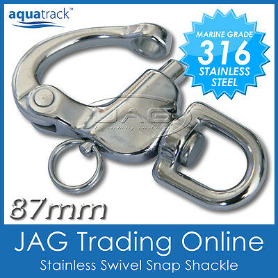 87mm 316 STAINLESS STEEL SWIVEL SNAP SHACKLE - MARINE/BOAT/SAILING/YACHT/CARAVAN