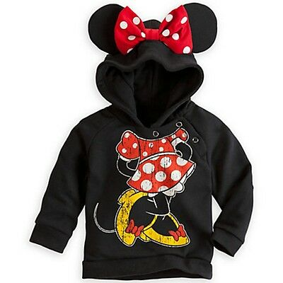 Funny Kids Girls Boys Mickey Minnie Mouse 3D Ears Hooded Shirt Sweater Hoodies
