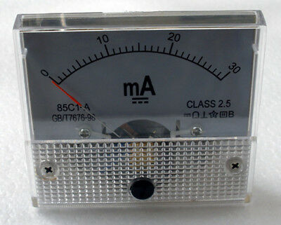 DC 30mA Ampmeter Analog Current Panel Meter Ammeter 0-30mA