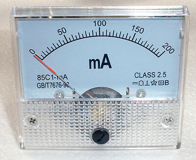 DC 200mA Ampmeter Analog Current Panel Meter Ammeter 0-200mA