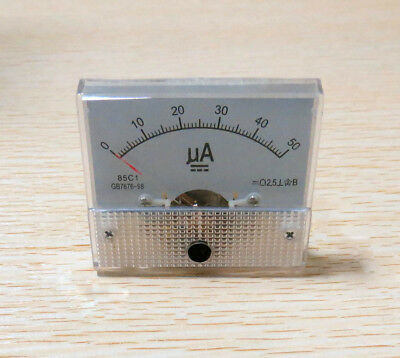 DC 50μA Analog Panel Ammeter ampmeter Gauge 85C1 Class 2.5 DC 0-50uA