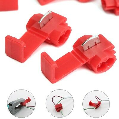50Pcs Lock Wire Electrical Cable Connector Quick Splice Terminals Crimp For Car