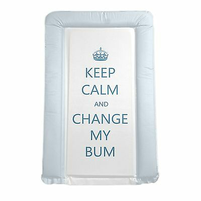 New 4Baby Blue / White Keep Calm And Change My Bum Padded Baby Changing Mat